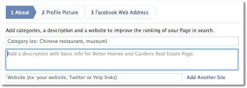 setting up facebook page