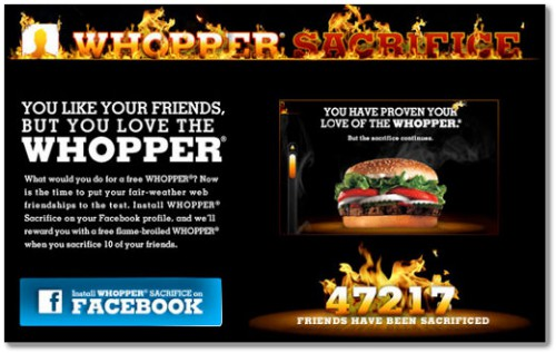 burger king whopper sacrifice