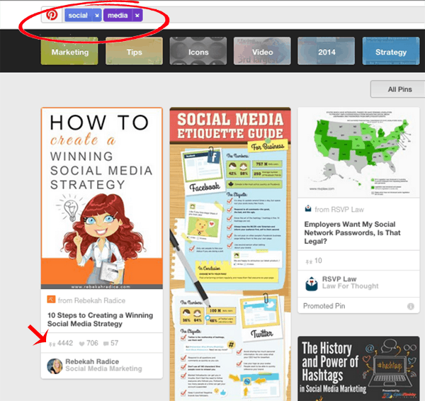 pinterest social media search