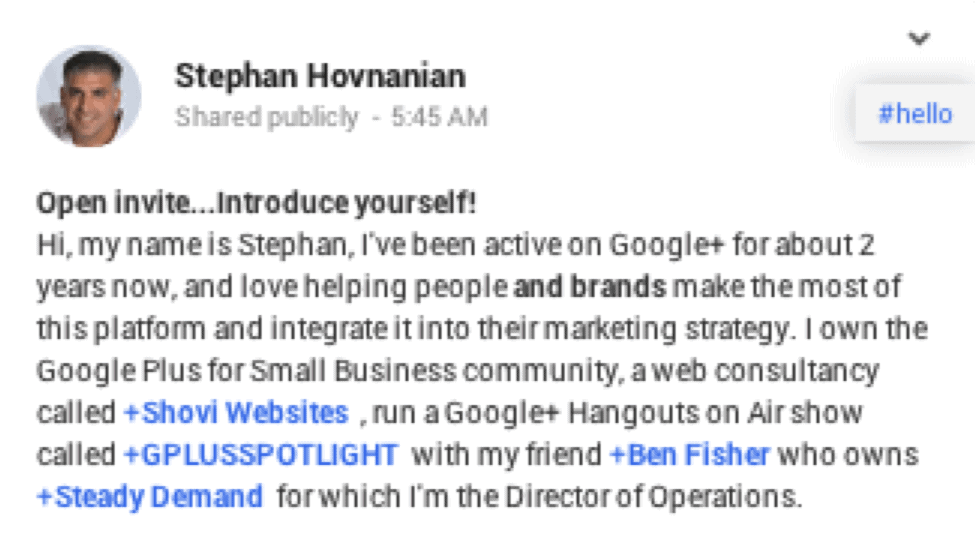 say hello on google plus