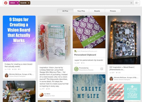 pinterest vision board examples
