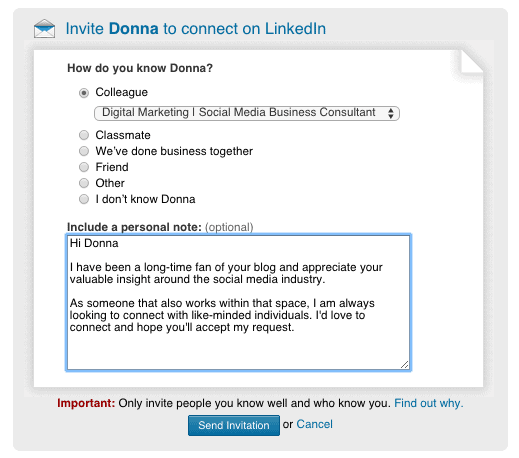 linkedin message example