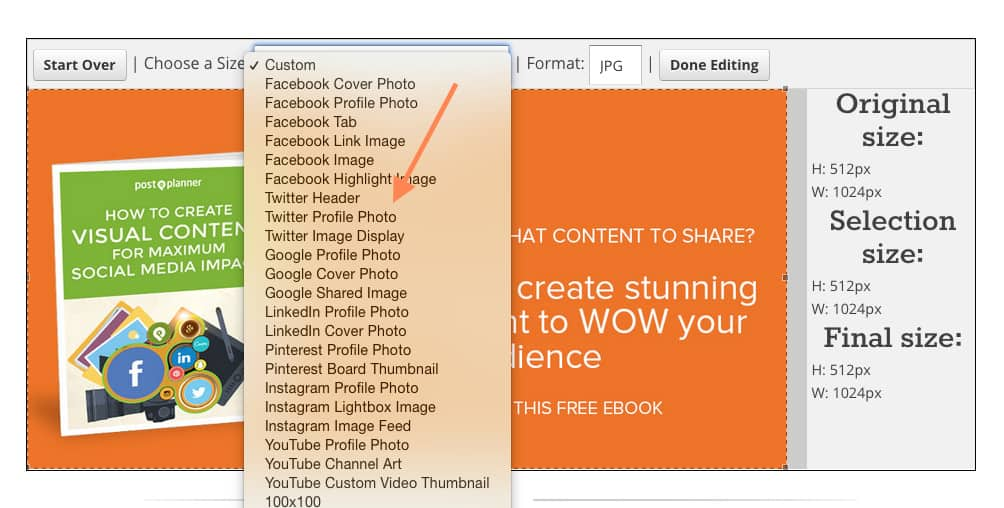 size images for each social network